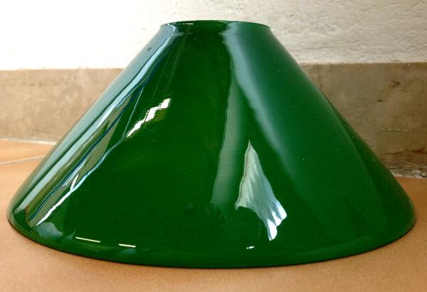 Paralume per lampada in vetro verde a cono con interno bianco. Misure ...