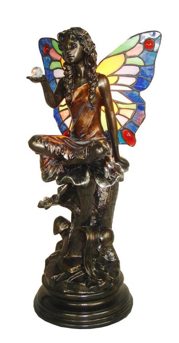 Lampada stile Tiffany da tavolo comodino fata sfera liberty