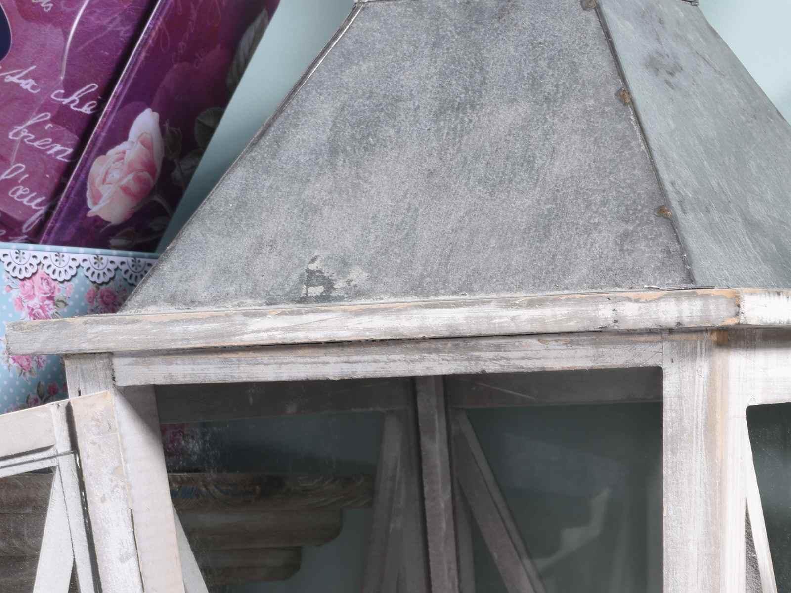 Antica soffitta set 2 lanterne in legno sbiancato tetto in metallo shabby chic - Legno sbiancato tetto ...