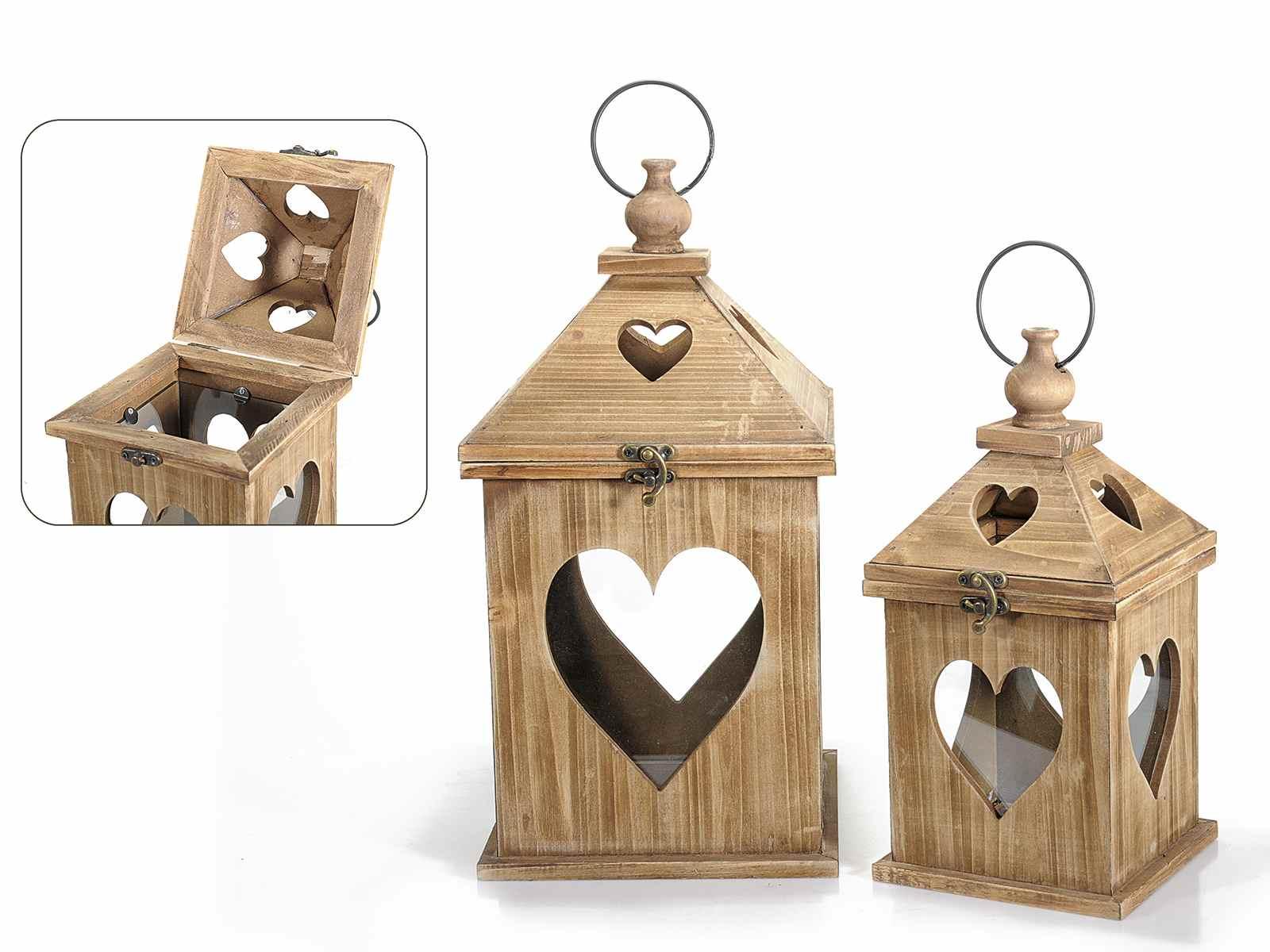 Antica soffitta set 2 lampade lanterne legno cuore shabby for Lanterne in legno