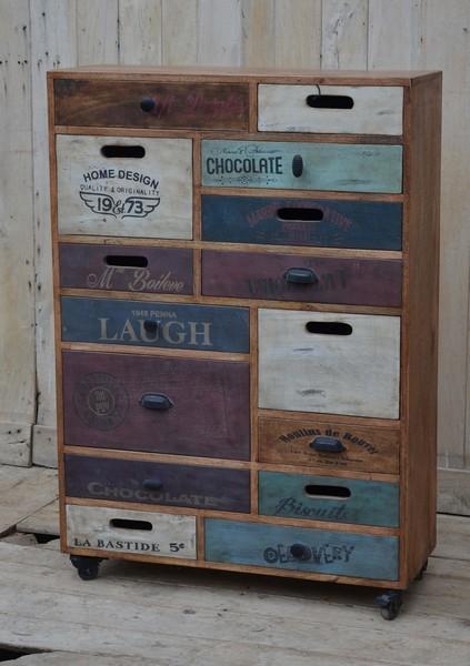 Antica soffitta cassettiera 119cm multicolore vintage com industrial ruote - Ruote per mobili vintage ...