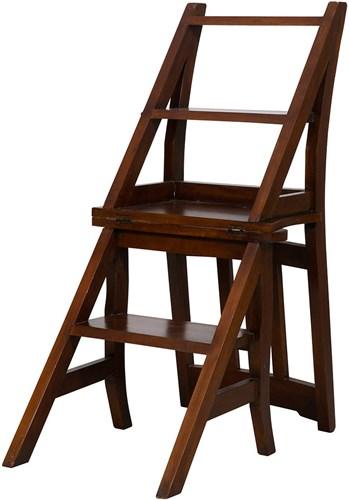 Antica soffitta sedia a scala scaletta scaleo legno noce per libreria biblioteca - Libreria a scaletta ...