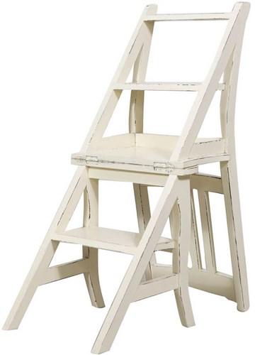 ... Soffitta: Sedia a scala scaletta legno bianco per libreria biblioteca