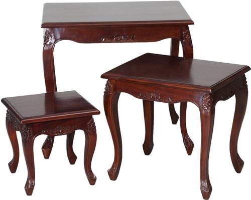 Antica soffitta tris tavolini legno noce tavolo salotto - Tris tavolini da salotto ...