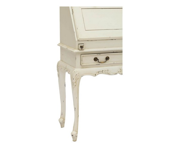 Antica soffitta scrivania secrétaire bianca con ribalta shabby