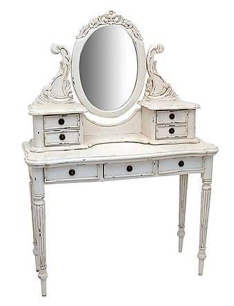 Antica soffitta toletta con specchio barocco legno bianco mobile consolle impero - Toletta con specchio ...