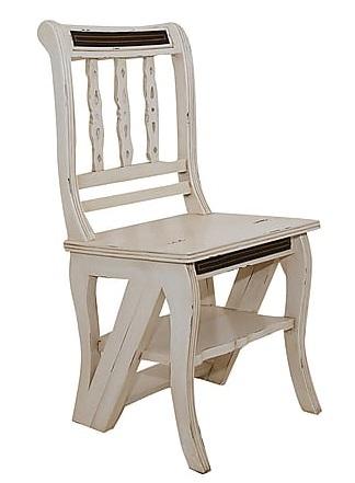 Antica soffitta sedia a scala scaletta bianca shabby chic for Sedia a dondolo provenzale