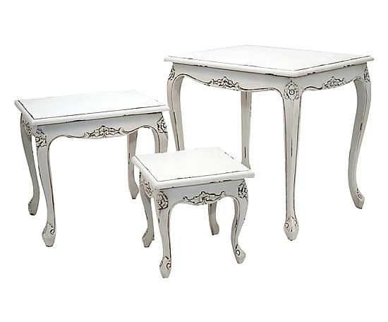 Antica soffitta tris tavolini legno tavolo tavolo shabby - Tavolo bianco shabby chic ...