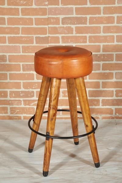 Antica soffitta sgabello cucina bar 67cm in legno pelle vintage design - Sgabello design cucina ...