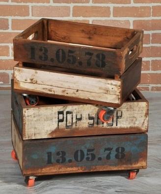Antica soffitta cassettiera 32cm ruote vintage com mobile legno industrial - Ruote per mobili vintage ...