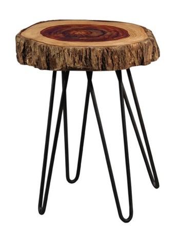 Antica soffitta tavolino sgabello 55cm legno ferro tronco for Tavolino sgabello
