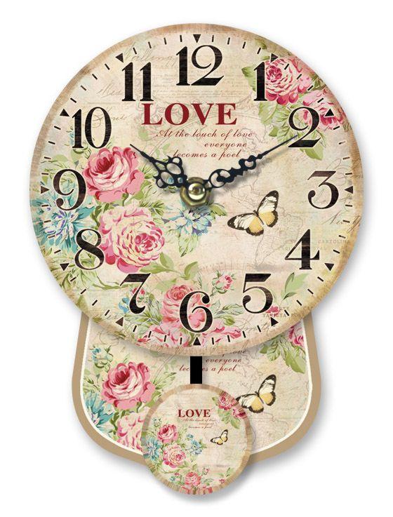 Antica soffitta orologio parete pendolo fiori rose for Orologio da muro shabby