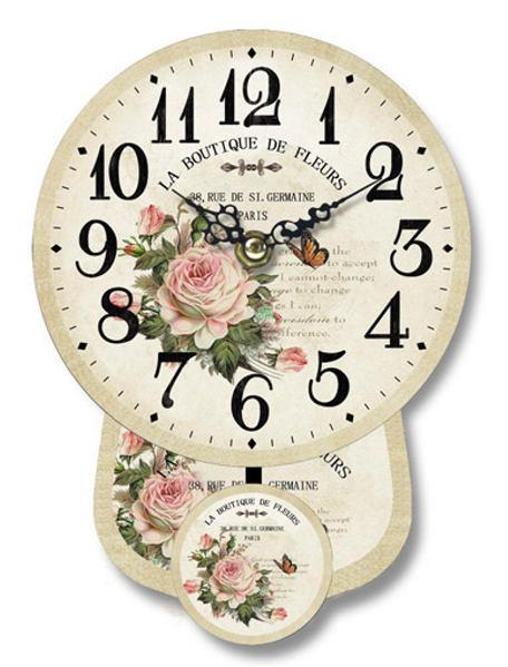 Antica soffitta orologio parete 19cm pendolo con rose e for Orologio da muro farfalle