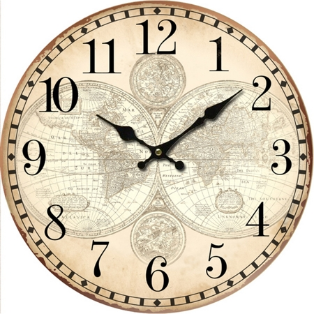Antica Soffitta: Orologio da parete 34cm vintage planisfero mappe ...