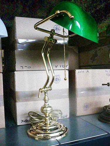... Soffitta: * Lampada ministeriale 45cm da scrivania ottone lucido verde