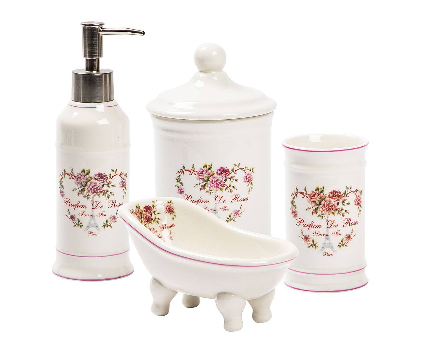 Antica soffitta set accessori bagno cuori rose ceramica for Accessori bagno in ceramica