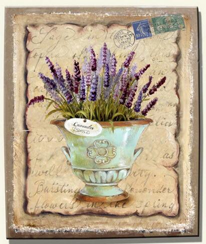 Antica soffitta quadro provenzale con vaso di lavanda country shabby chic - Quadri cucina vintage ...