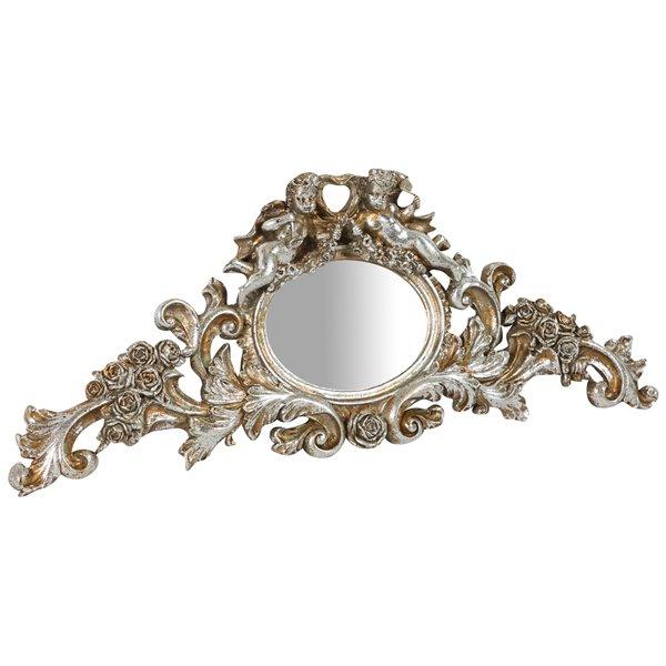 Antica soffitta specchio da appendere fregio argento angeli putti barocco - Specchio barocco argento ...
