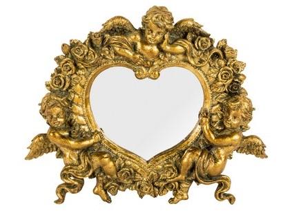 Antica soffitta specchio resina cuore oro barocco putti angeli rocaille - Specchio a cuore ...