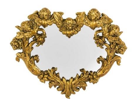 Antica soffitta specchio resina oro cuore barocco putti angeli rocaille - Specchio a cuore ...