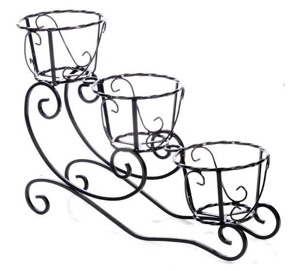 Antica soffitta portavasi a tre posti slitta porta vasi - Porta vasi in ferro battuto ...