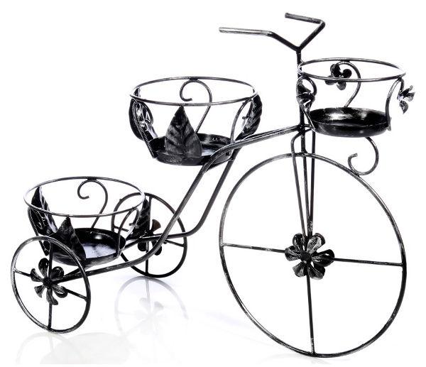 Antica soffitta portavasi a bicicletta tre posti porta - Porta vasi in ferro battuto ...