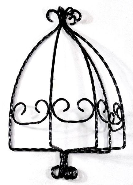 Antica soffitta portavasi da parete 65cm in ferro battuto - Portavasi da appendere ...