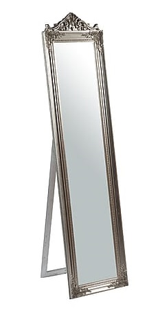 Antica soffitta specchio argento da terra in legno for Specchio da terra barocco