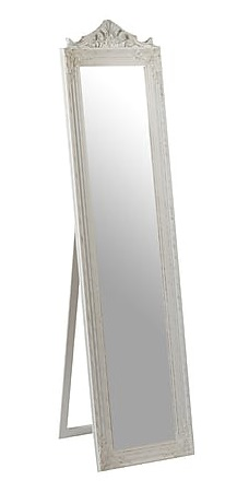 Antica Soffitta Specchio Bianco Da Terra In Legno Barocco