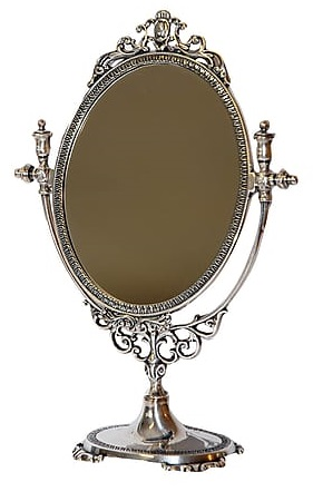 Antica soffitta specchio da appoggio tavolo liberty basculante vintage argento - Specchio da appoggio ...