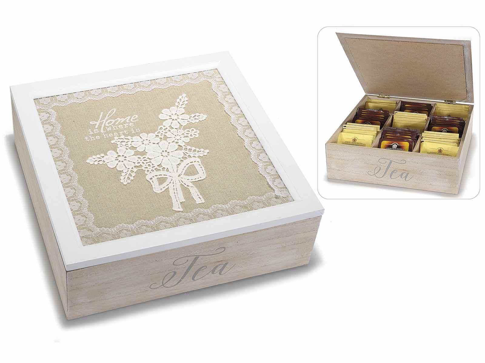 Antica soffitta scatola porta t tea legno 9 scomparti - Scatole porta viti ...