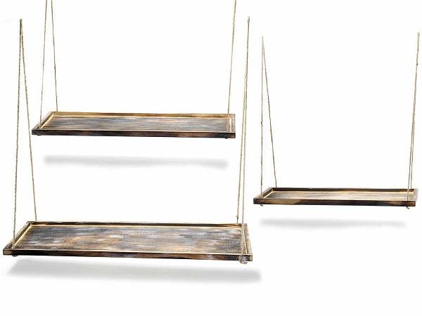 Antica soffitta set 3 mensole da appendere vassoi legno - Mensole cucina legno ...