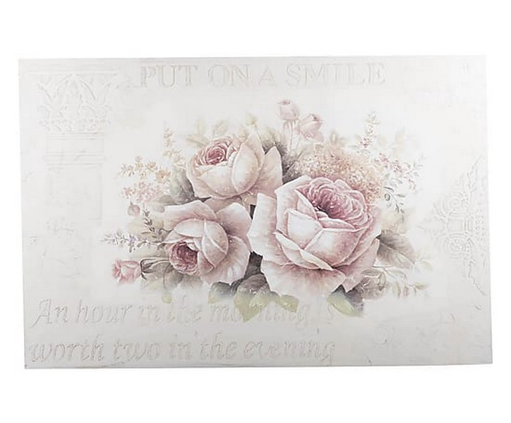 Antica Soffitta Pannello Stampa 150cm Targa Quadro Rose Foglie