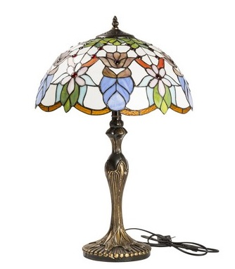 Antica Soffitta Lampada Tiffany Liberty Fiori Azzurri Ottone Vintage Tavolo