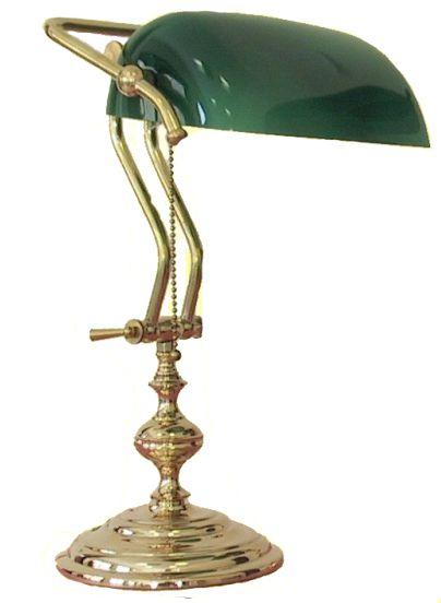 Antica soffitta lampada ministeriale 45cm da scrivania ottone lucido verde for Lampada da tavolo verde